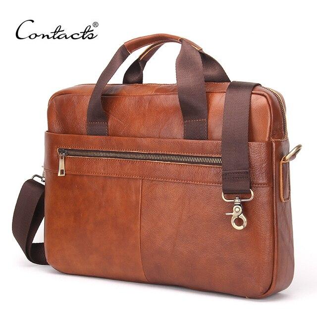 "CONTACT'S 2016 Fashion Genuine Leather Men Briefcase Cowhide Men's Messenger Bags 14"" Laptop Business Bag Luxury Lawyer Handbags"