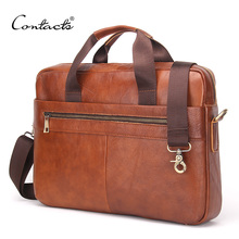 """CONTACT'S 2016 Fashion Genuine Leather Men Briefcase Cowhide Men's Messenger Bags 14"""" Laptop Business Bag Luxury Lawyer Handbags(China (Mainland))"""