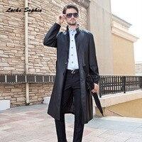 Men Plus Size Leather Locomotive Long Jacket Blazers 2017 Winter Faux Leather Waist Belt Black Jacket