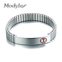 Modyle 2019 New Stainless Steel Medical Alert Elastic Adjustable Wristband ID Bracelet Bangle for Women