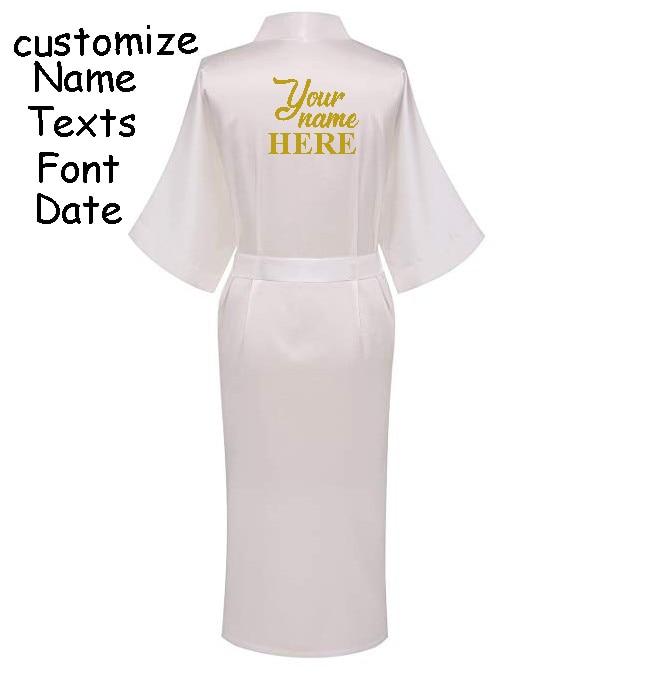 4976aed568 C Fung Personalized Satin Bridal Robe Bride pocket long robe Bachelorette party  wedding gift braidsmaid Silky Kimono