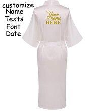 C Fung Personalized Satin Bridal Robe Bride pocket long robe Bachelorette party wedding gift braidsmaid Silky