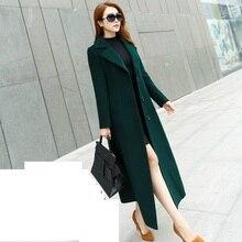 Осенне-зимняя ветровка большого размера, шерстяное пальто, корейское тонкое темпераментное длинное пальто, Высококачественная Женская шерстяная куртка, пальто 5XL