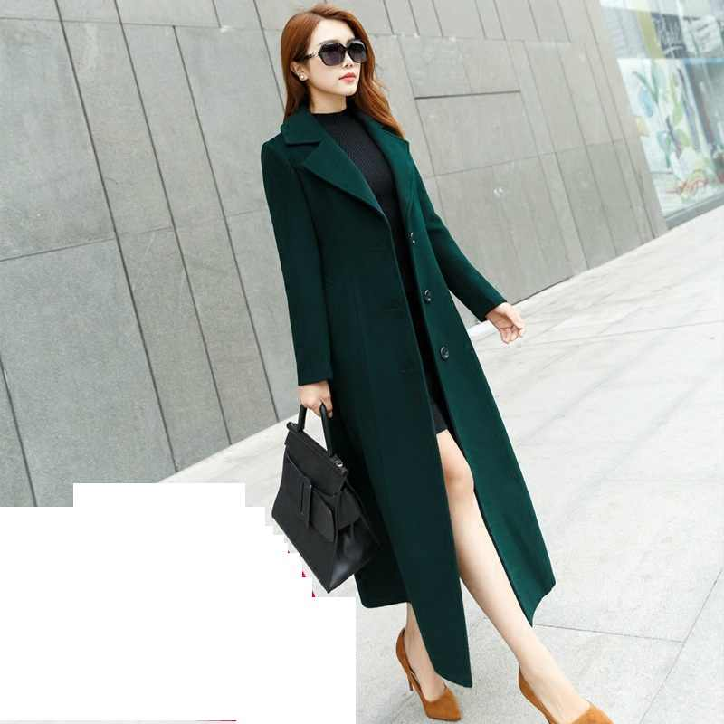 Large-size Autumn/winter Windbreaker Wool coat  Korean Slim Temperament Long Overcoat High-grade Women's Woolen jacket coats 5XL