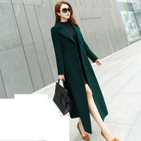 Large size Autumn/winter Windbreaker Wool coat Korean Slim Temperament Long Overcoat High grade Women's Woolen jacket coats 5XL