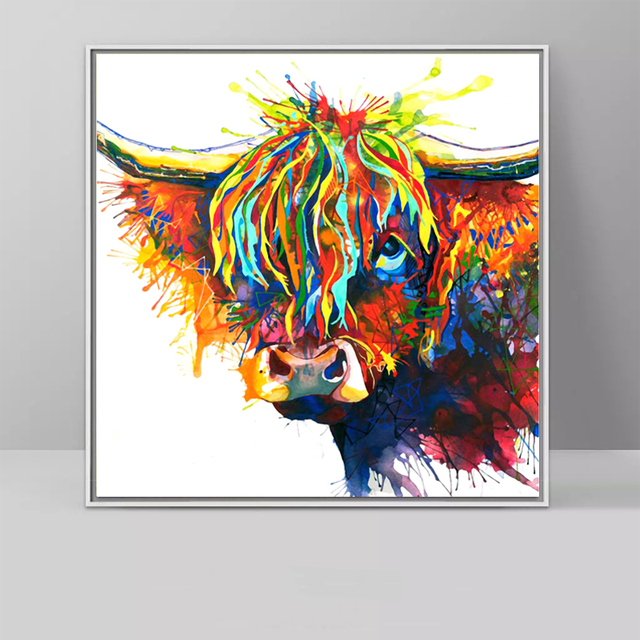 dd087def515 SELFLESSLY Colorful Highland Cow Animal Oil Painting Canvas Art Print  Poster Print For Living Room Wall Decorative Pictures