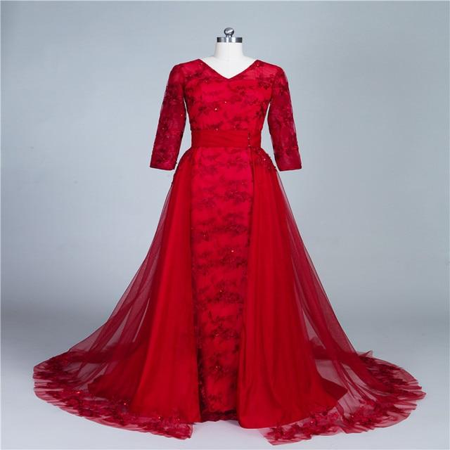 New Fancy Dress Custom Dress 2017 Noble Wine Red Wedding Bride Lace