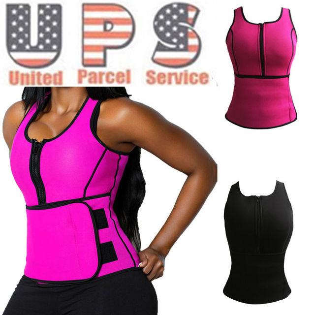 Neoprene Sauna Waist Trainer Vest Hot Shaper Summer Workout Shaperwear Slimming Adjustable Sweat Belt Fajas Body Shaper *USPS*