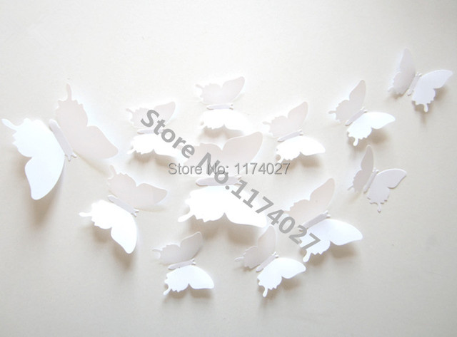 12pcs PVC 3d Butterfly Home decor solid white color small cute Wall stickers Decoration Butterflies Decals