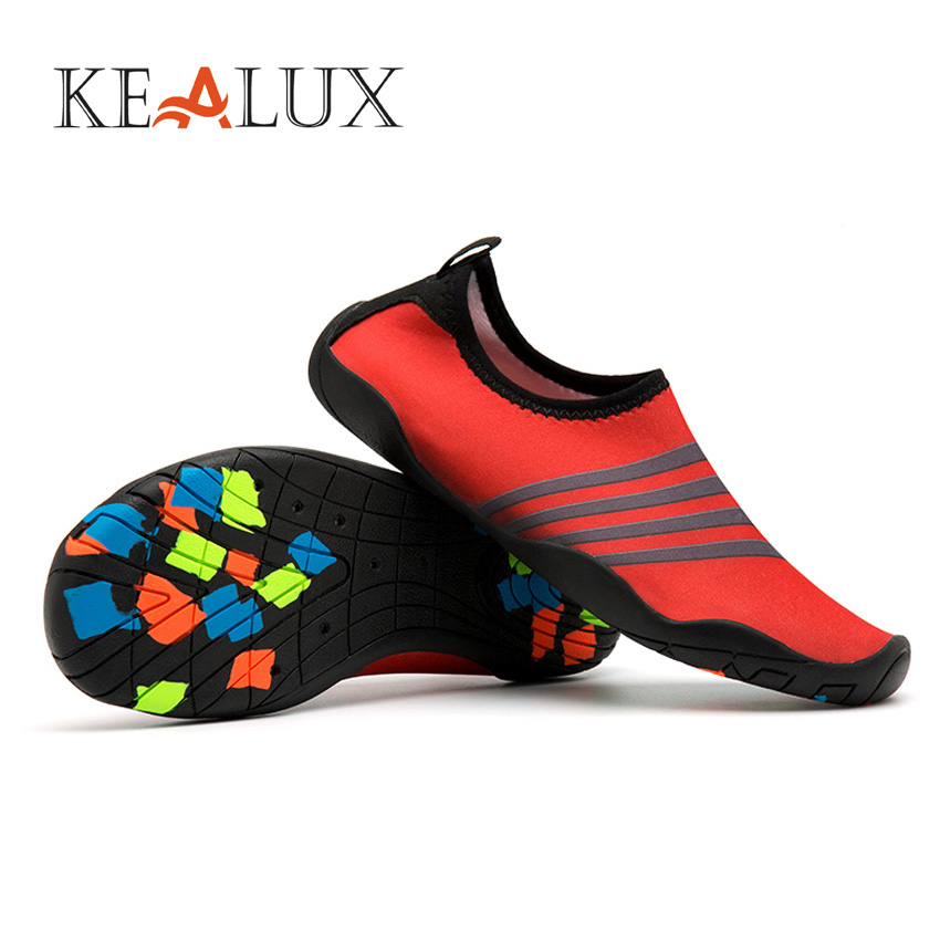KEALUX 2018 Unisex Flat Soft Quick Drying Shoes New Summer Men Barefoot Skin Sock Striped Stretch Fabric