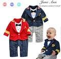 Офицер, детская одежда мальчика костюм младенческой малыша господа капитан полосатый галстук-бабочка ползунки roupa infantil menino