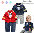 Oficial militar ropa de bebé baby boy traje infant toddler caballeros capitán striped bow tie mameluco menino infantil roupa