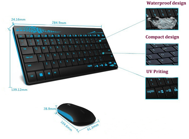 2.4GHz Black Mini Slim Wireless Keyboard Optical Mouse Combo