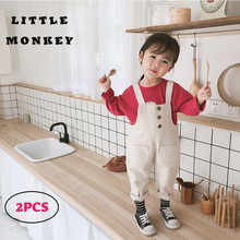 Baby Overalls+Sweatshirt Solid Spring Jumpsuit Girl Straight Loose Kid Clothing Baby Girl Causal Button Overalls Jumpsuit Girls все цены