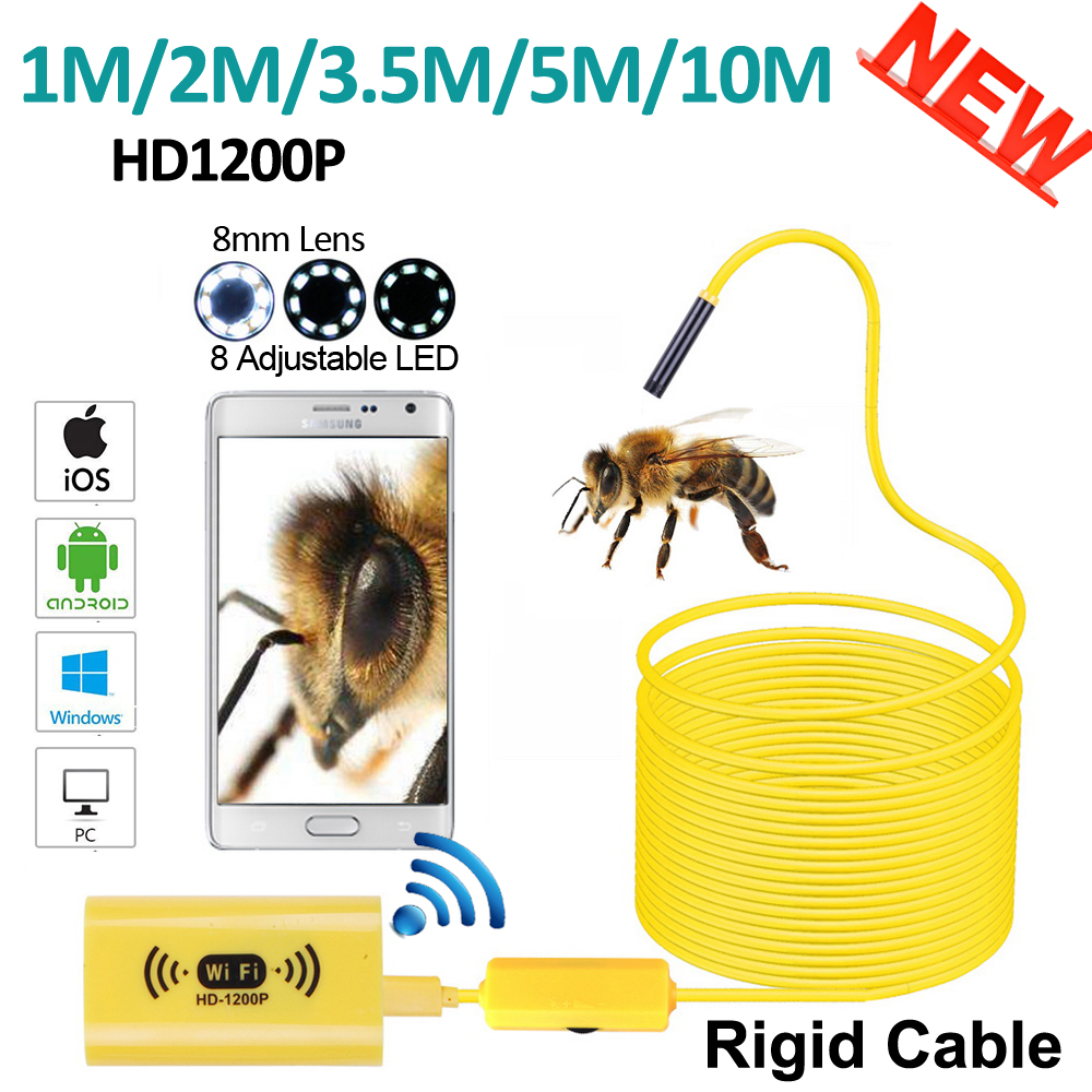 8mm HD1200P 2MP 10M/5M/3.5M Snake Rigid Hard Cable WIFI Iphone IOS Endoscope Camera Android USB Pipe Inspection Borescope Camera 10m wifi usb waterproof borescope hd endoscope inspection camera for android ios