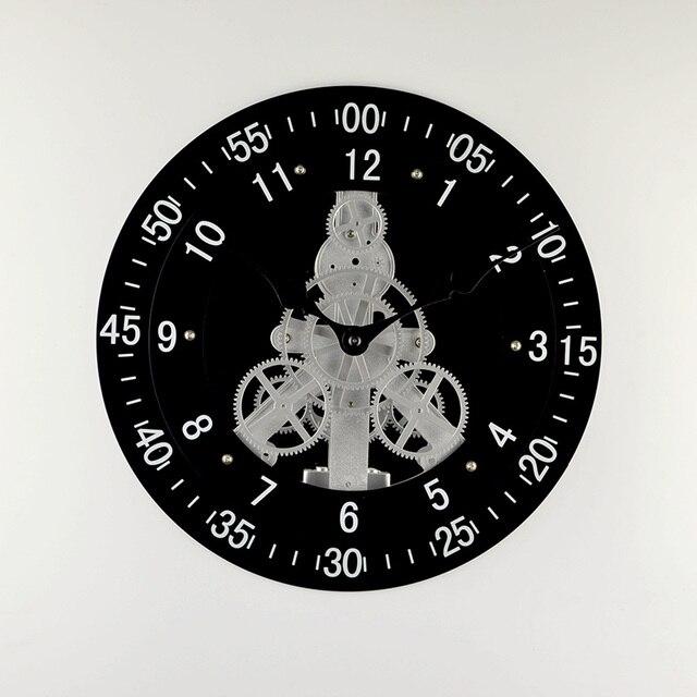 Nouveau Double Engrenage Noir Rotatif Horloge Murale Design Moderne