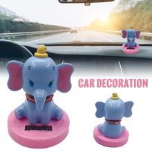 Car Decoration Pendant Araba Aksesuar Cute Cartoon Flying Elephant Solar Powered Dancing Animal Swinging Car Accessories цена 2017