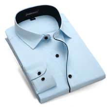 2017 Men's Long-sleeve Twill Light-blue Solid Dress Shirt for Work Wear Business Casual Slim-fit Contrast Placket Formal Shirts
