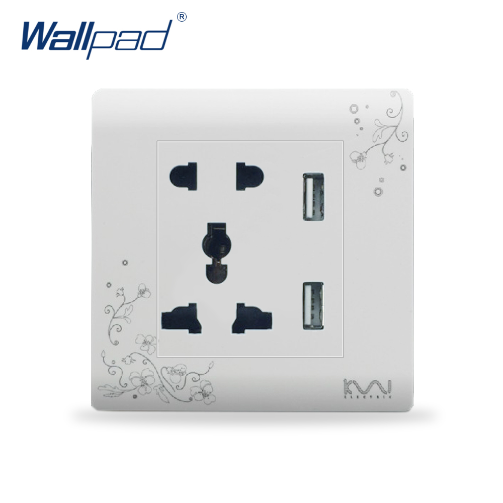 Usb 5 Pin Universal Power Socket With Usb In The Wall Wallpad Wall Socket Electrical Outlet Panel Dual Outlet 5V 2100MA uk standard 1 gang socket with 2 usb chargering 3 pin white glass panel wall socket and 2100ma usb wall plug outlet