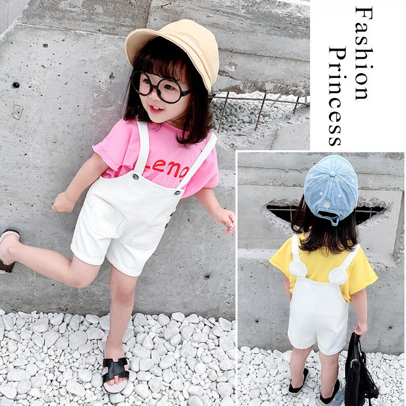 Summer kid's Baby Infants For Girls short sleeve t shirt tops+baby overall shorts 2pcs clothes set Baby clothes C2599