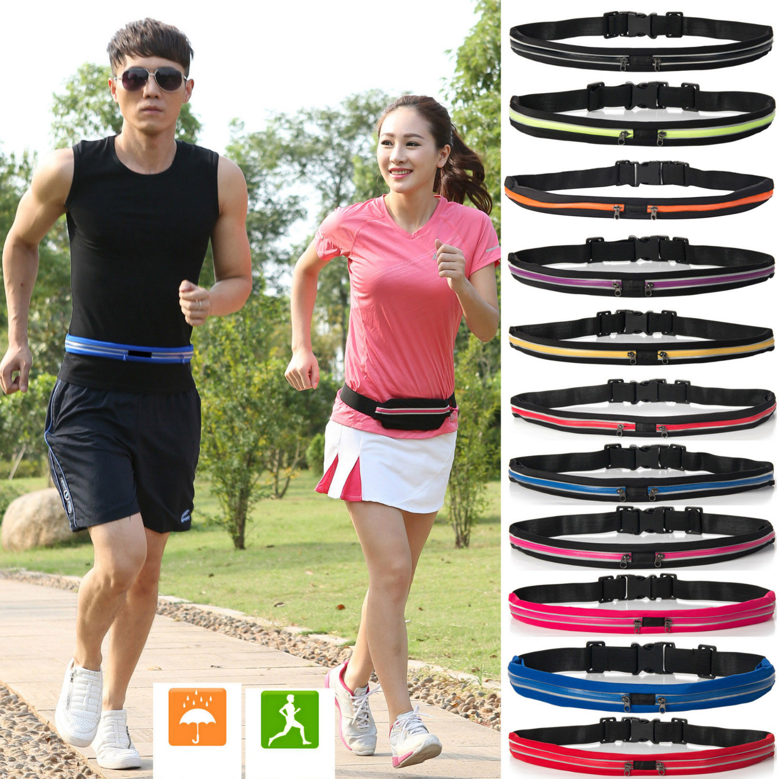 Waist Pack Unisex Fashion Outdoor Stretch Sports Belt Double Pocket Waterproof Phone Bag Belt Casual Small Bag For Traveling Run