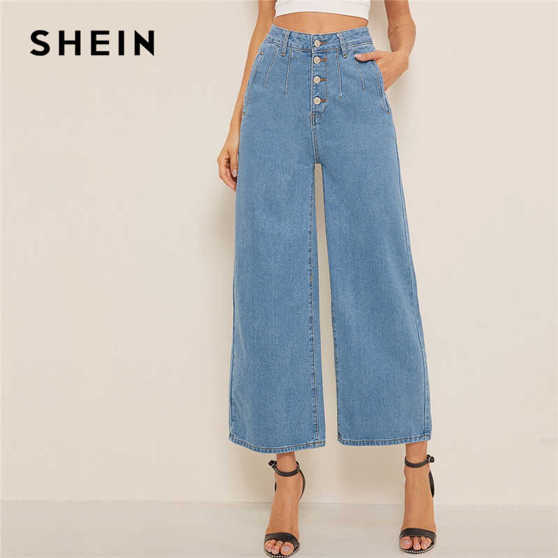 SHEIN Blue Button Fly Losse Wijde Pijpen Denim Jeans Vrouwen Zomer Herfst Solid Hoge Taille Crop Casual High Street Dames jeans