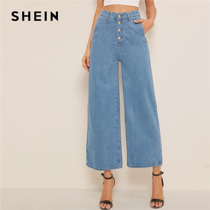 SHEIN Blue Button Fly Loose Wide Leg Denim Jeans Women Summer Autumn Solid High Waist Crop Casual High Street Ladies Jeans