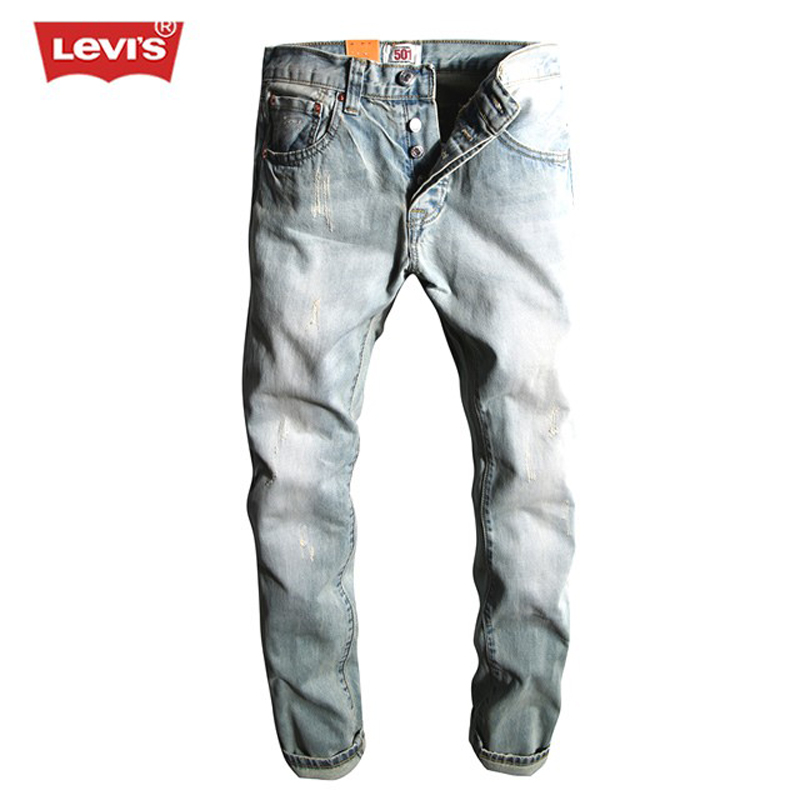 Levi's 501 Series Men Jeans Washed Bleached Scratched Pleated Denim Long Pants Casual Straight Trousers Women Mens Fashion SD100 men s casual pleated stretch denim biker jeans for moto pockets cargo pants slim long trousers