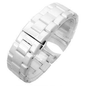Image 3 - Bracelet de montre en céramique pour homme, bout incurvé, en acier inoxydable, 22mm, AR1400 AR1410, 18mm, Bracelet à boucle papillon, accessoires, nouvelle collection