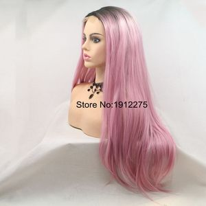 Image 2 - Sylvia U Part Pink Hair Long Natural Straight Synthetic Lace Front Wig Dark Root Heat Resistant Fiber Cosplay Wig Middle Part