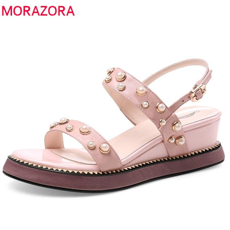 MORAZORA nieuwe stijl vrouwen sandalen echt lederen gesp zomer schoenen zoete roze parel platform schoenen mode wiggen schoenen vrouw-in Hoge Hakken van Schoenen op  Groep 1