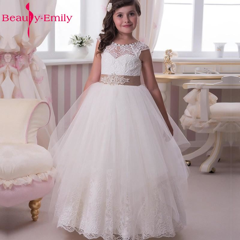 Beauty Emily White Ivory Flower Girl Dresses 2018 Ball Gown Belt Bow Lace Wedding Party Girl Prom Dresses
