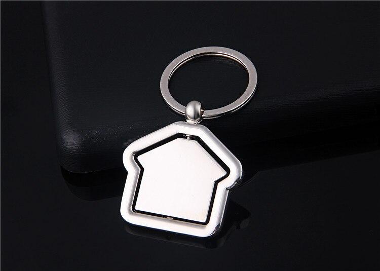 Вращающийся брелок домик, брелок для ключей, металлические аксессуары из цинкового сплава, трендовая подвеска для ключей, подарок компании с логотипом на заказ, 3 шт./ло