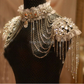 Classic Jewelry Sets Fashion Lace Bridal Necklace Chain Tassel Shoulder Strap Wedding Jewelry Women Body Chain(Silver Color)