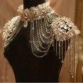 Sistemas de la Joyería de Moda Nupcial Del Cordón clásico Collar de Cadena de Joyería de Boda de la Correa de Hombro de La Borla de la Cadena Mujeres Cuerpo (Color Plata)