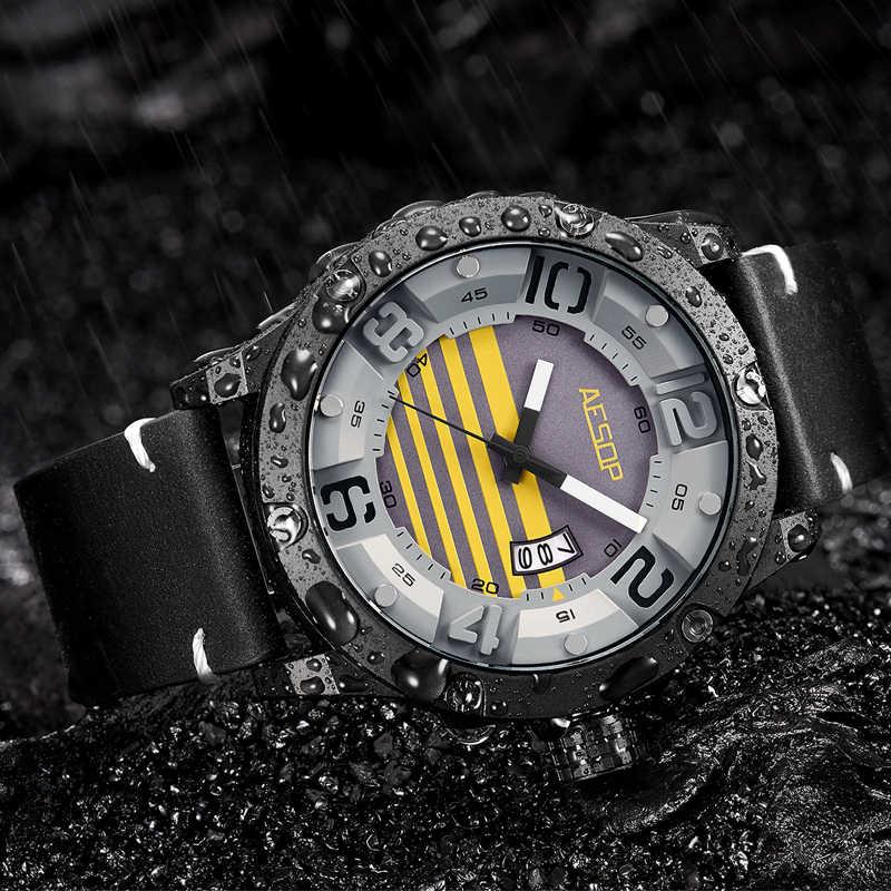 イソップ日付レザー腕時計ユニークなレロジオ Masculino 腕時計メンズラグジュアリー腕時計高級ミリタリー男性時計防水 Saati
