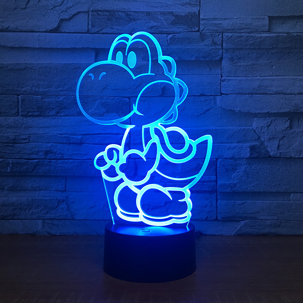 Yoshi 3D LED USB Lamp Cartoon Game Figure Super Mario Acrylic Novelty Christmas Lighting Gift RGB Touch Remote Controller Toys