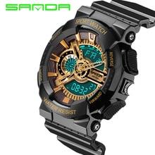 Санда цифровой мода спортивные часы мужчины водонепроницаемый свободного покроя часы из светодиодов календарь простой бег наручные часы Relogio мужской