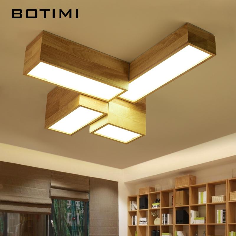 BOTIMI DIY Rechteck Massivholz FHRTE Deckenleuchten Fr Wohnzimmer Moderne Holzdeckenlampe Platz Kche LeuchtenChina