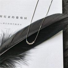 ANENJERY 925 argent Sterling chaud Simple généreux Chic clavicule chaîne collier perles collier pour les femmes cadeau S-N271