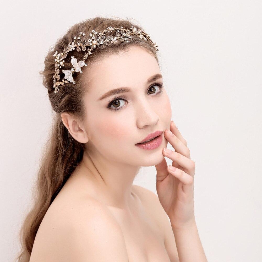Antique Gold Leaf Bridal Headband Tiara Handmade Rhinestone Wedding Headpiece Crown Fashion Brides Hair Accessories 2017 New