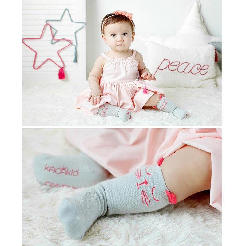 Cute Baby socks Newborn Toddler Sock Baby Boy Girl Socks Anti Slip Cartoon Cat Knee High Socks Kids Cotton Meias