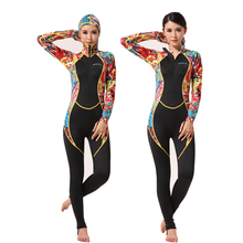 Hisea 2 Style Women Wetsuit One-Piece Diving Suit Long Sleeve UV Protection Jellyfish with chestpad Ladies Surf Swimsuit