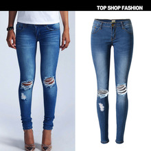 Real pictures 2017 CosMaMa new model ladies skinny all denim with destroyed gap pencil elastic ripped denims pants