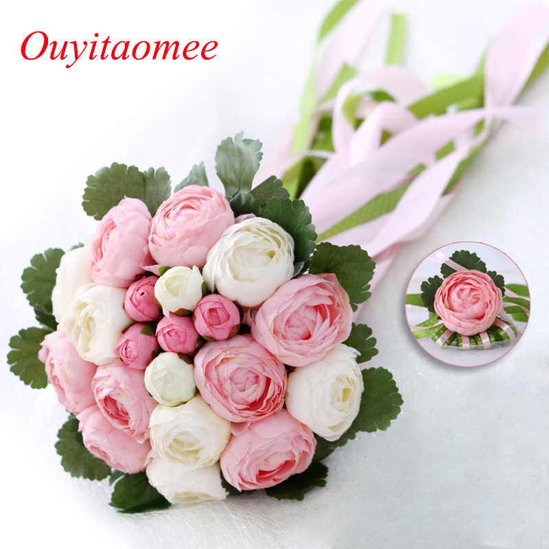 Rose Flowers Bridal Wedding Bouquets 20 Handmade Flowers Wedding Accessories Flowers with Ribbon 2018 New Arrival Bridal Gift