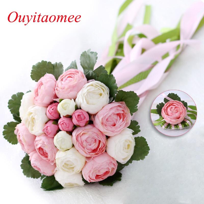 Rose Flowers Nupcial Wedding Bouquets 20 flores hechas a mano - Accesorios de boda
