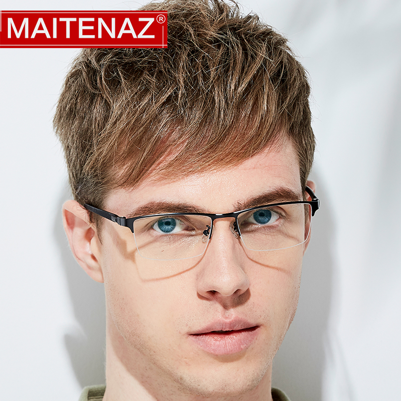 MAITENAZ TR90 Alloy Prescription Eyeglasses Business Myopia Hyperopia Glasses for Men Women Fashion Half Frame 1076(China)