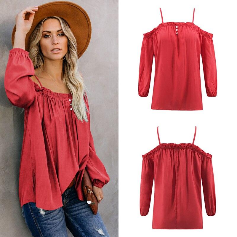 Женская модная футболка лето 2019, Модная хлопковая футболка с длинным рукавом, Сексуальная футболка, розовая рубашка с открытыми плечами, Топ Femme