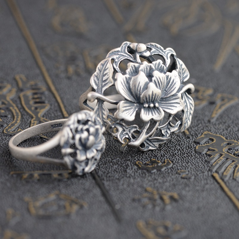 Thai Silver Ring S925  Sterling Silver Antique Style Female Flowers Rich Matte New Gift Ring