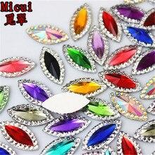 Micui 100PCS 7 15mm AB Clear Horse Eye Resin Rhinestone Flatback Gems Strass  Crystal Stones 6c6f23366368